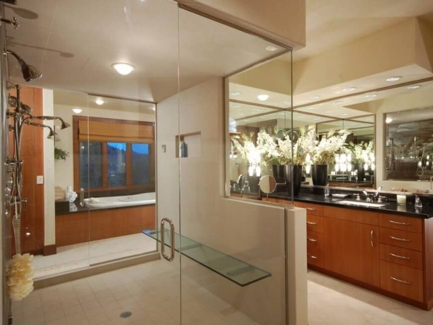 Nur echte dunkle Fleck in diesem Badezimmer ist der Granit - k che arbeitsplatte glas