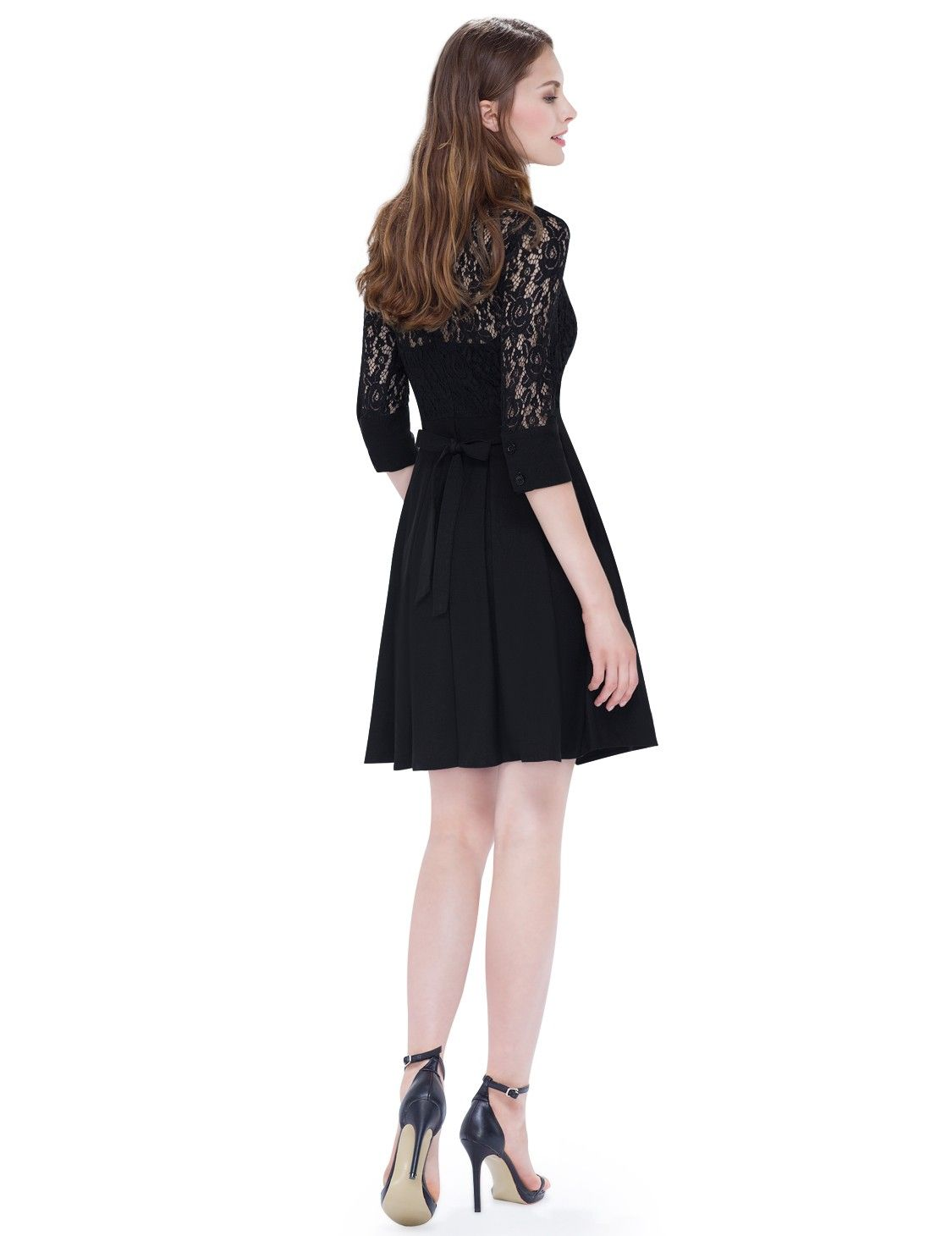 Alisa pan long lace sleeve dress with fit u flare silhouette