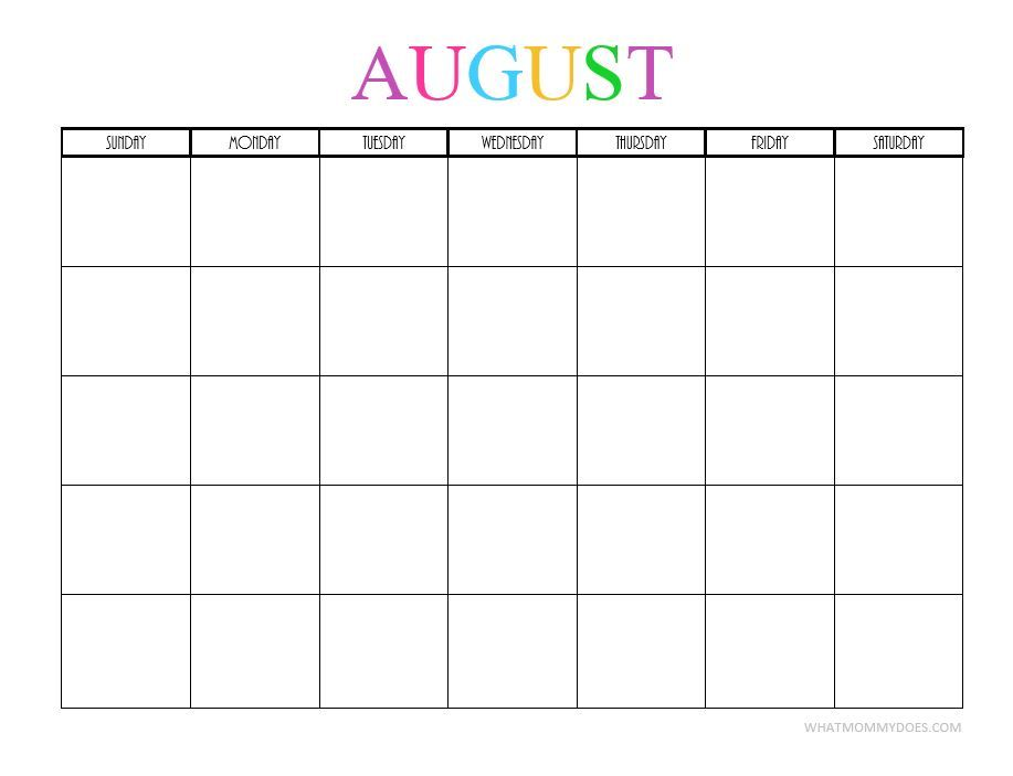 Free Printable Blank Monthly Calendars - 2017, 2018, 2019, 2020