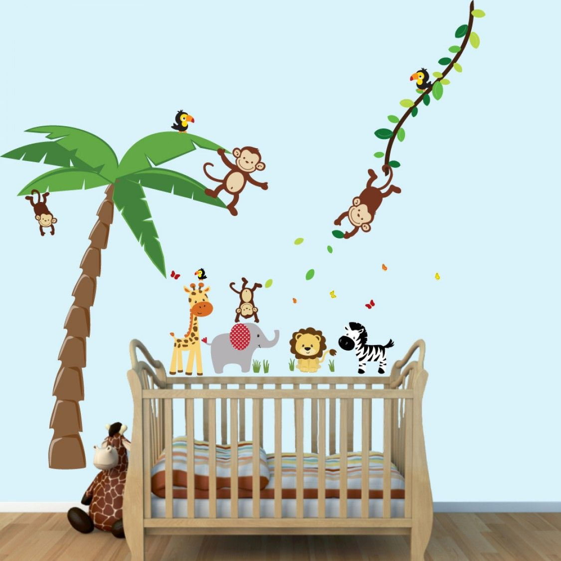 Large palm tree and mini animals wall stickers pier