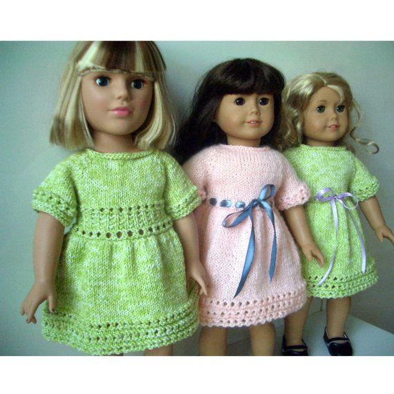American Girl 18 inch doll Knitting pattern DRESS (38) | Muñecas ...