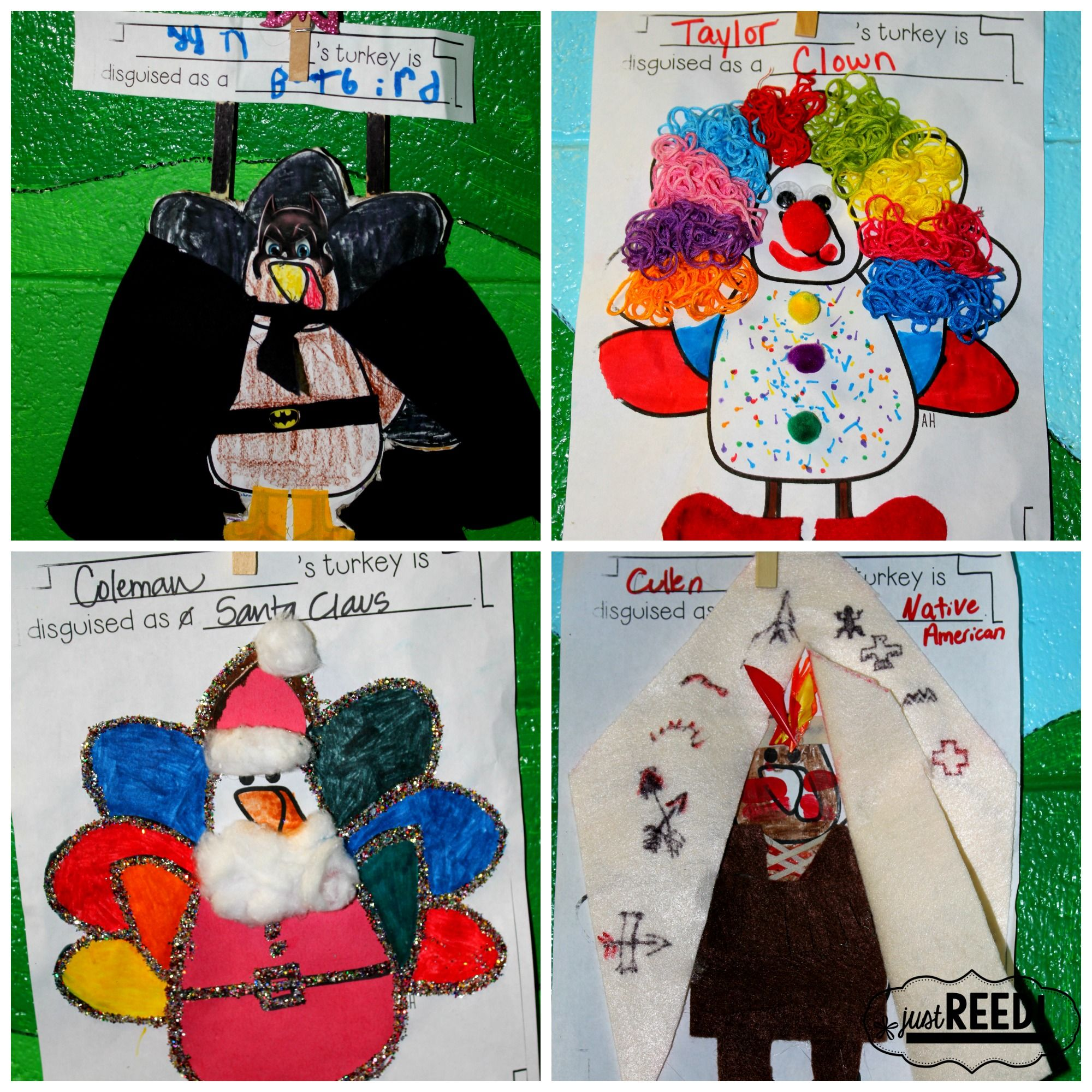 18 Adorable Turkey in Disguise Project Ideas - Just Reed & Play #turkeydisguiseprojectideaskid