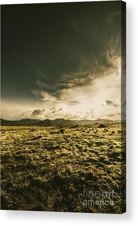 Dynamic Green Acrylic Print featuring the photo Grass & Distant Mountains by Jorgo Photography - Wall Art Gallery