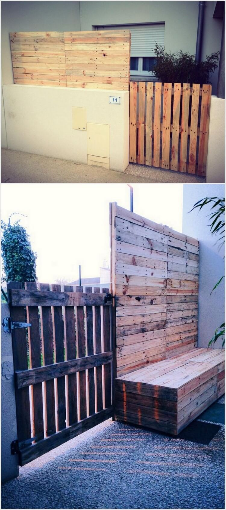 Pallet fence gate and inside bench fence designs in