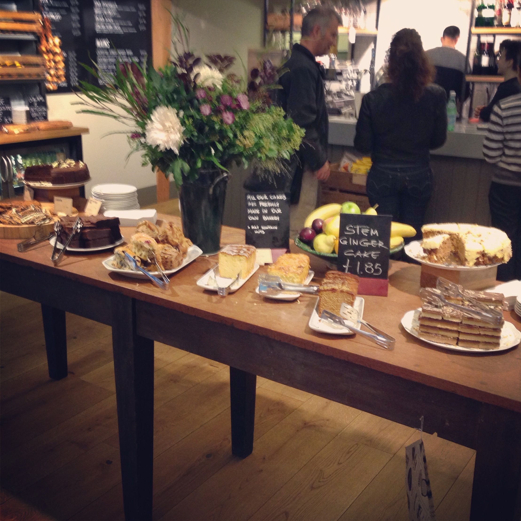 The cake table, Fields Cafe at Lincoln's Inn Field, London