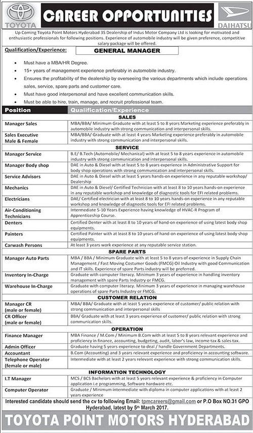 Pakistan Employment Toyota Motors Pakistan Jobs Latest - bike mechanic sample resume