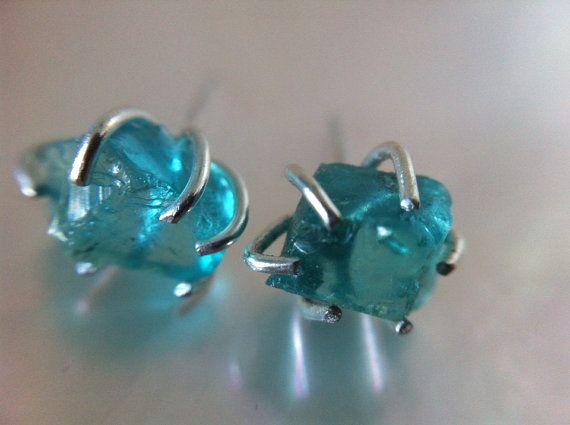 SALE Raw Aqua gemstone Stud Earrings-Rough Neon Apatite Studs-Conflict free orga on Etsy, $99.00