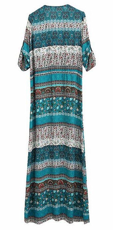 Ouliu womens bohemian vneck button up split long maxi beach dress