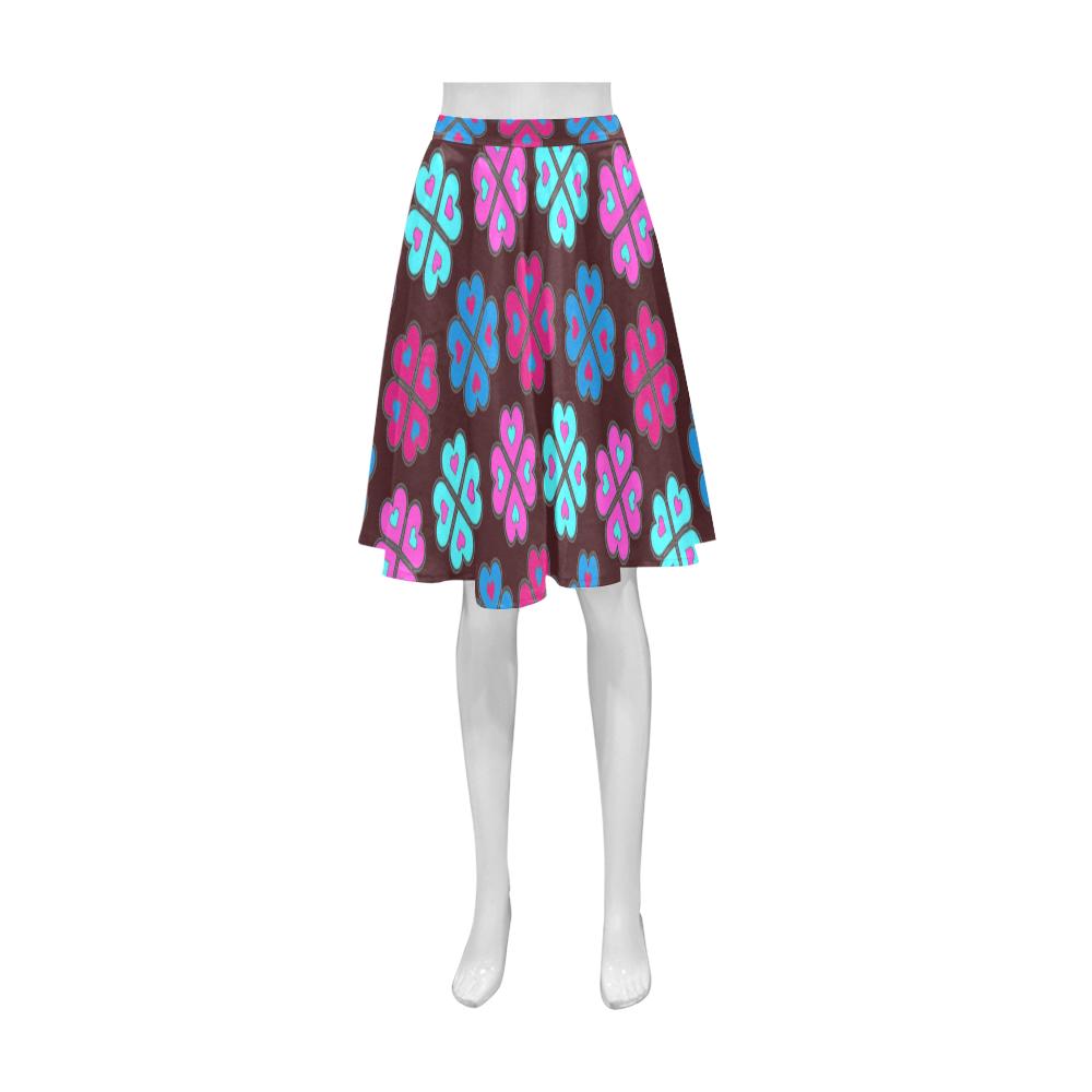 heart flower pattern on burgandy athena women s short skirt model