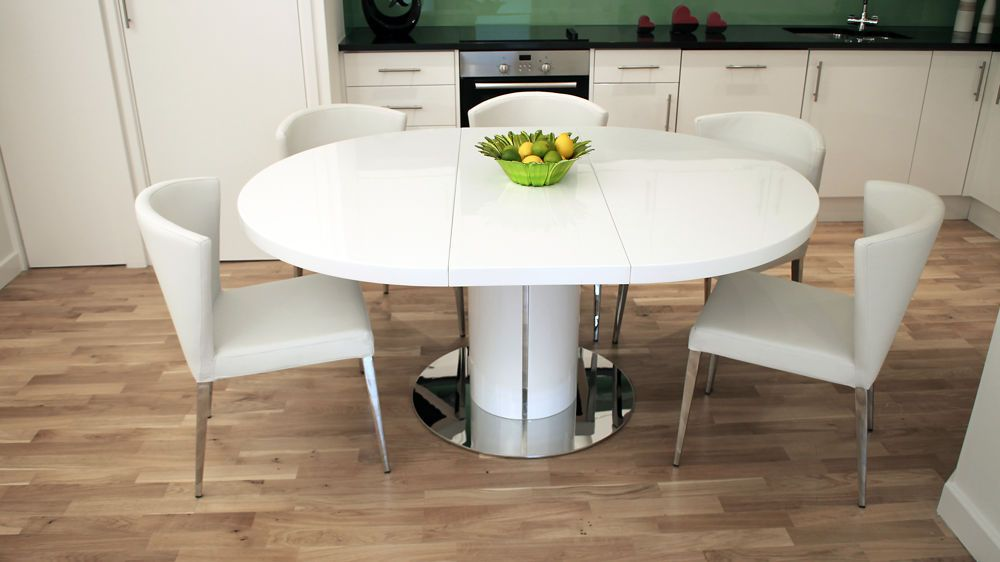 Curva White Gloss Extending Dining Set White Round Dining Table