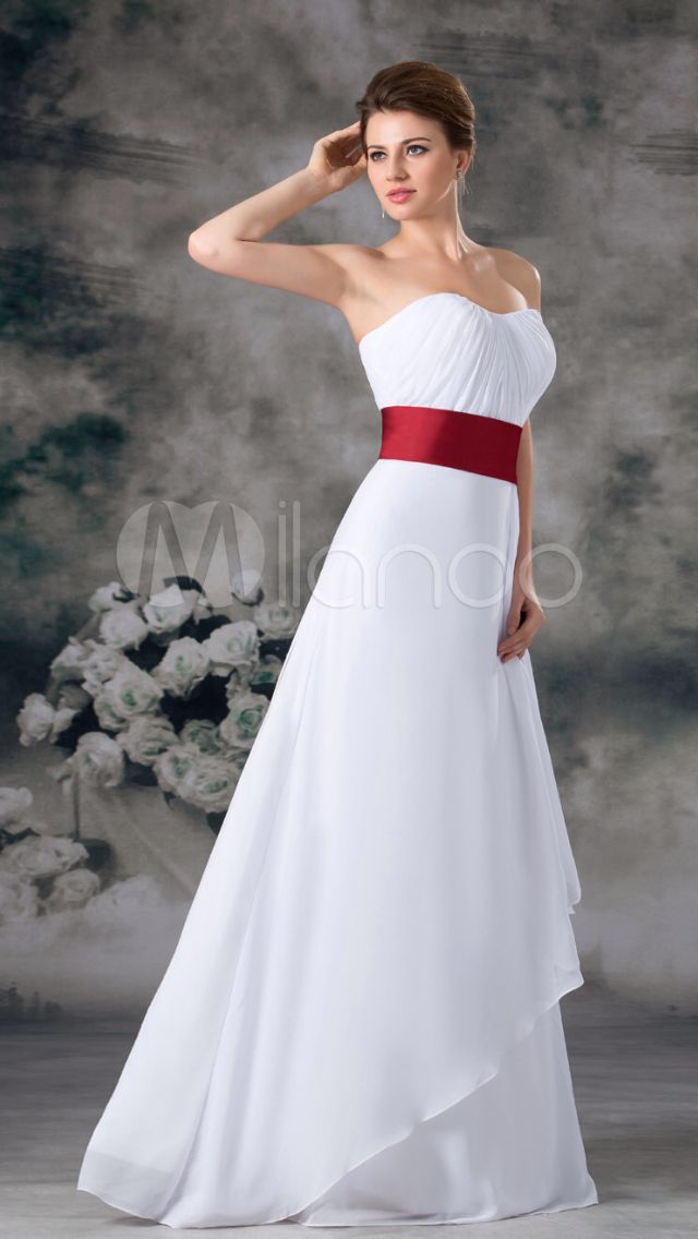 Sweetheart neckline Chiffon Long Wedding Dress with Colored Ribbon around  Natural Waist 0c0ef8325650