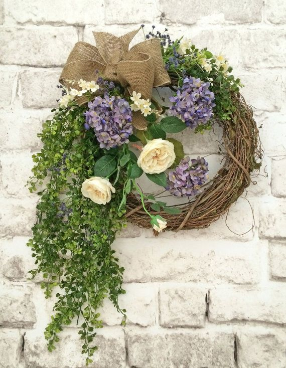 Lavender and Cream Silk Floral Wreath Summer by AdorabellaWreaths