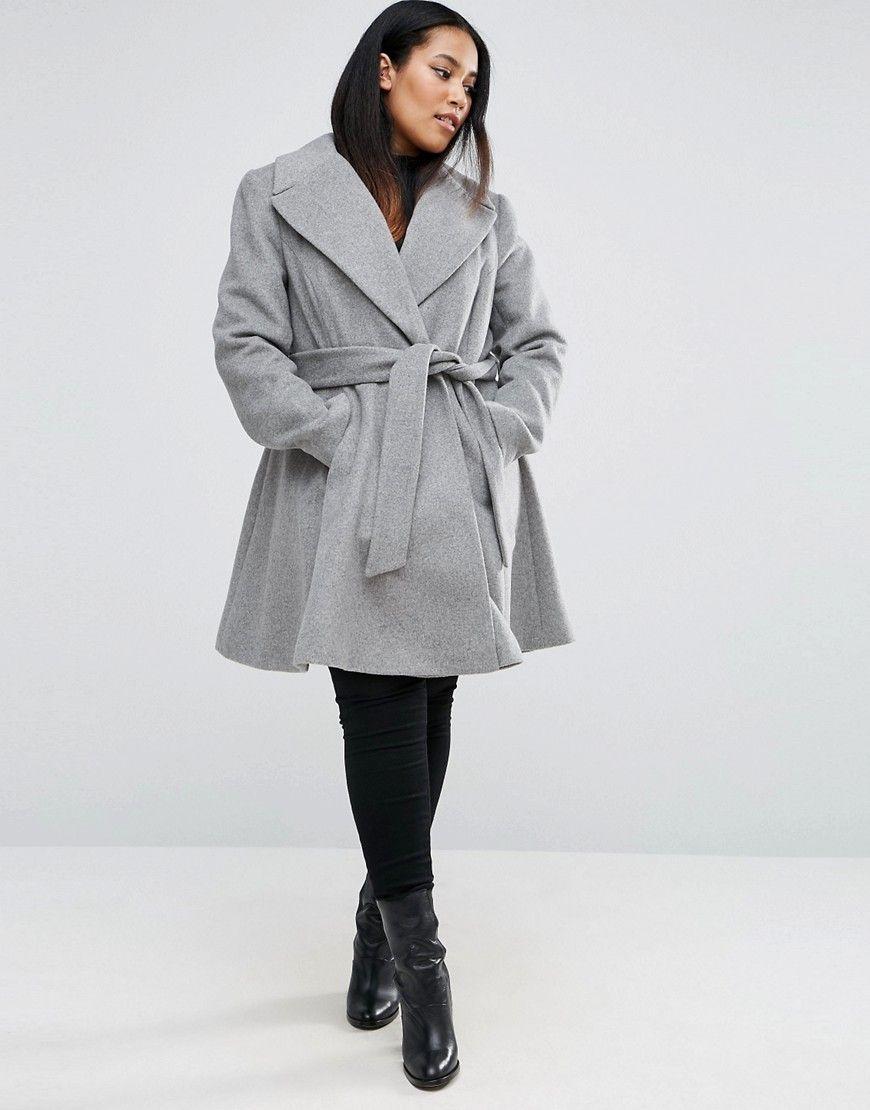 Asos Curve Self Belt Skater Coat Plus Size Coat Fashion Plus Size Coats [ 1110 x 870 Pixel ]