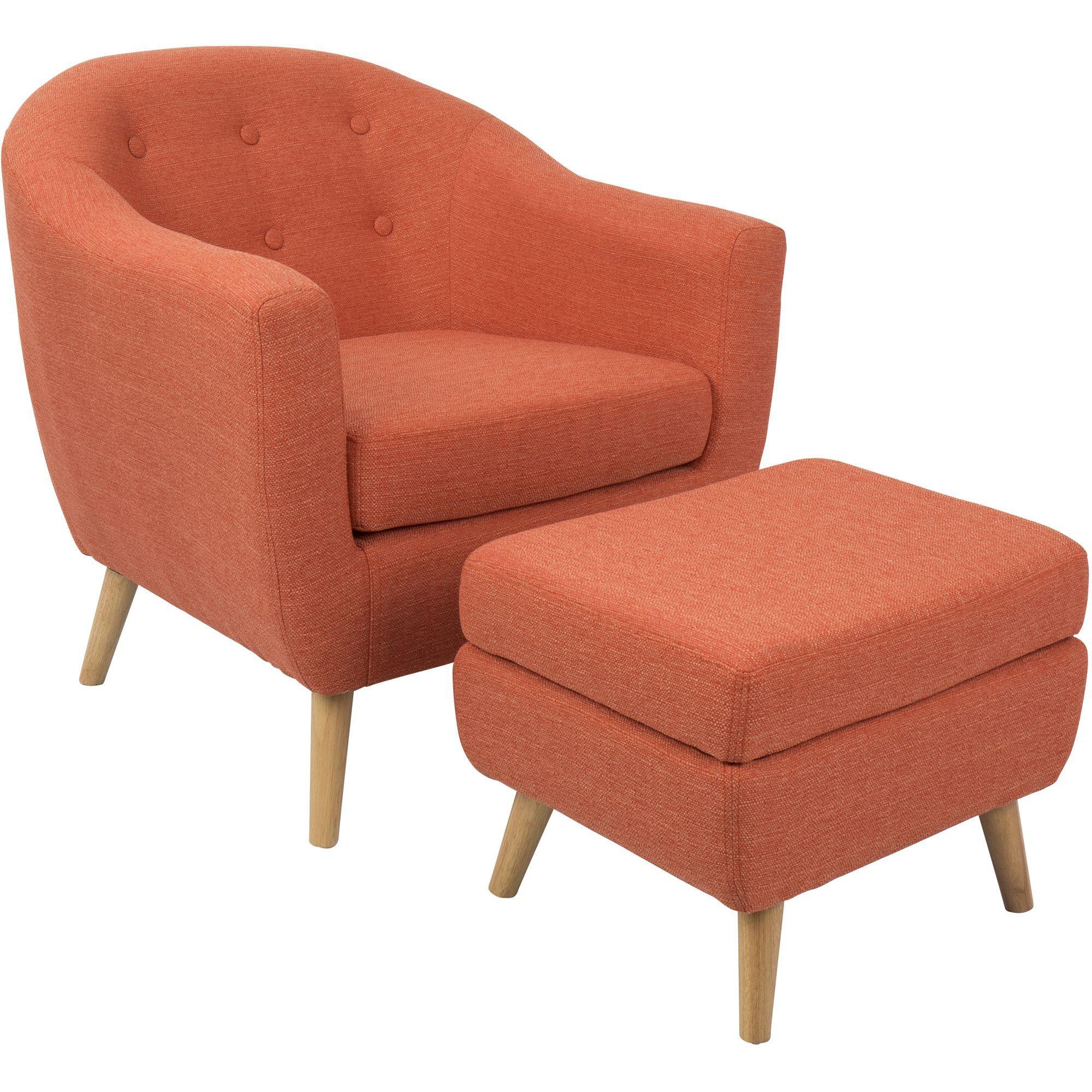 Rockwell Mid Century Modern Chair With Ottoman, Orange