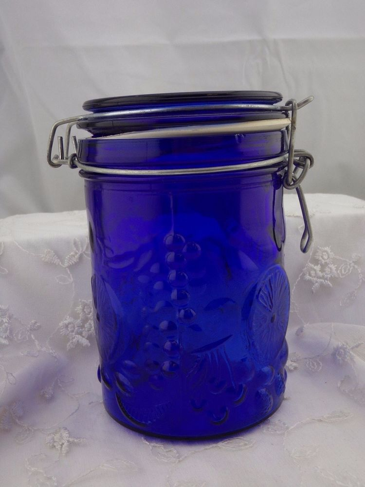 Antique Cobalt Blue Canning Or Apothecary Jar Fruit Pattern Gl