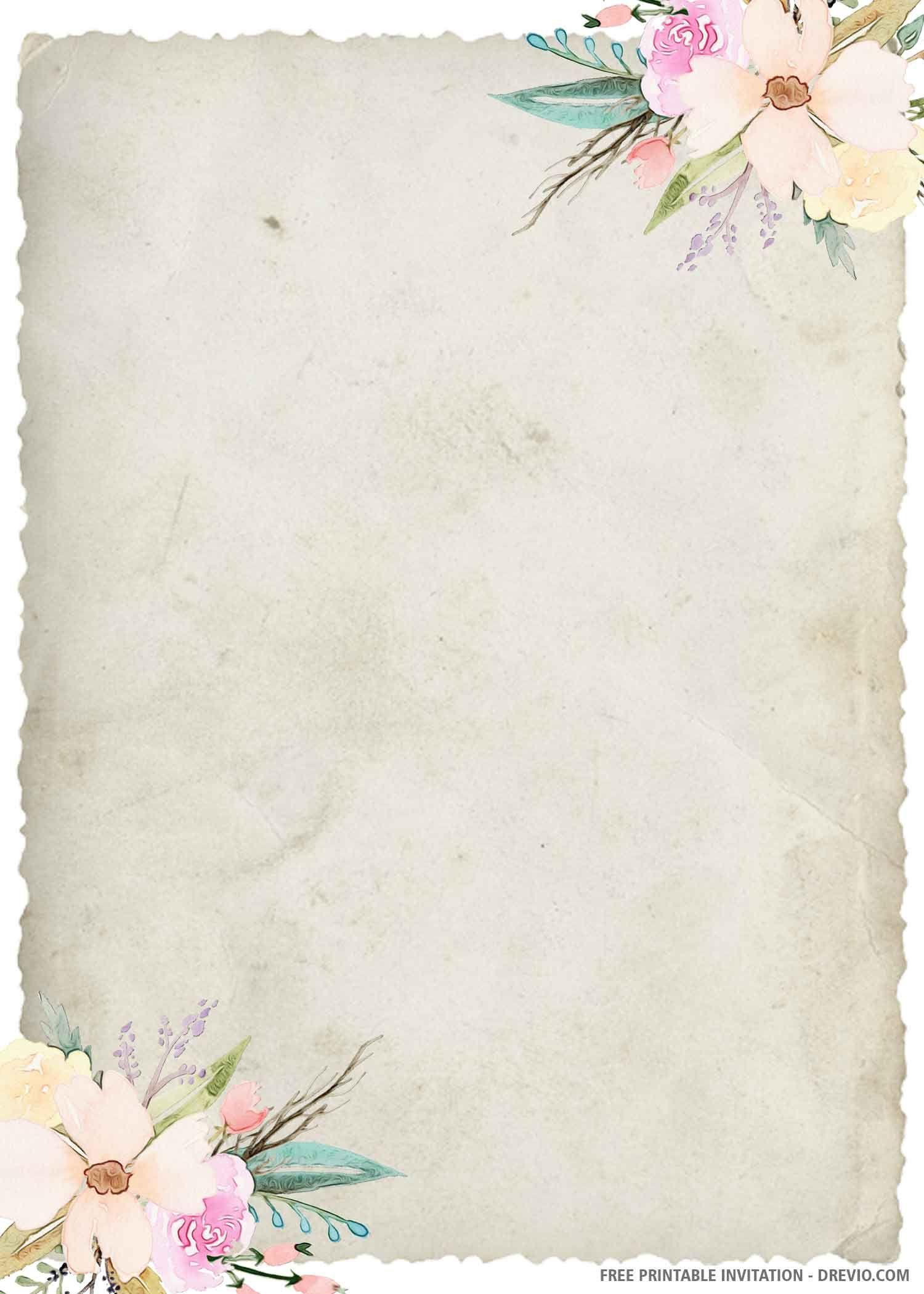 Free Printable Watercolor Greenery Boho Wedding Invitation