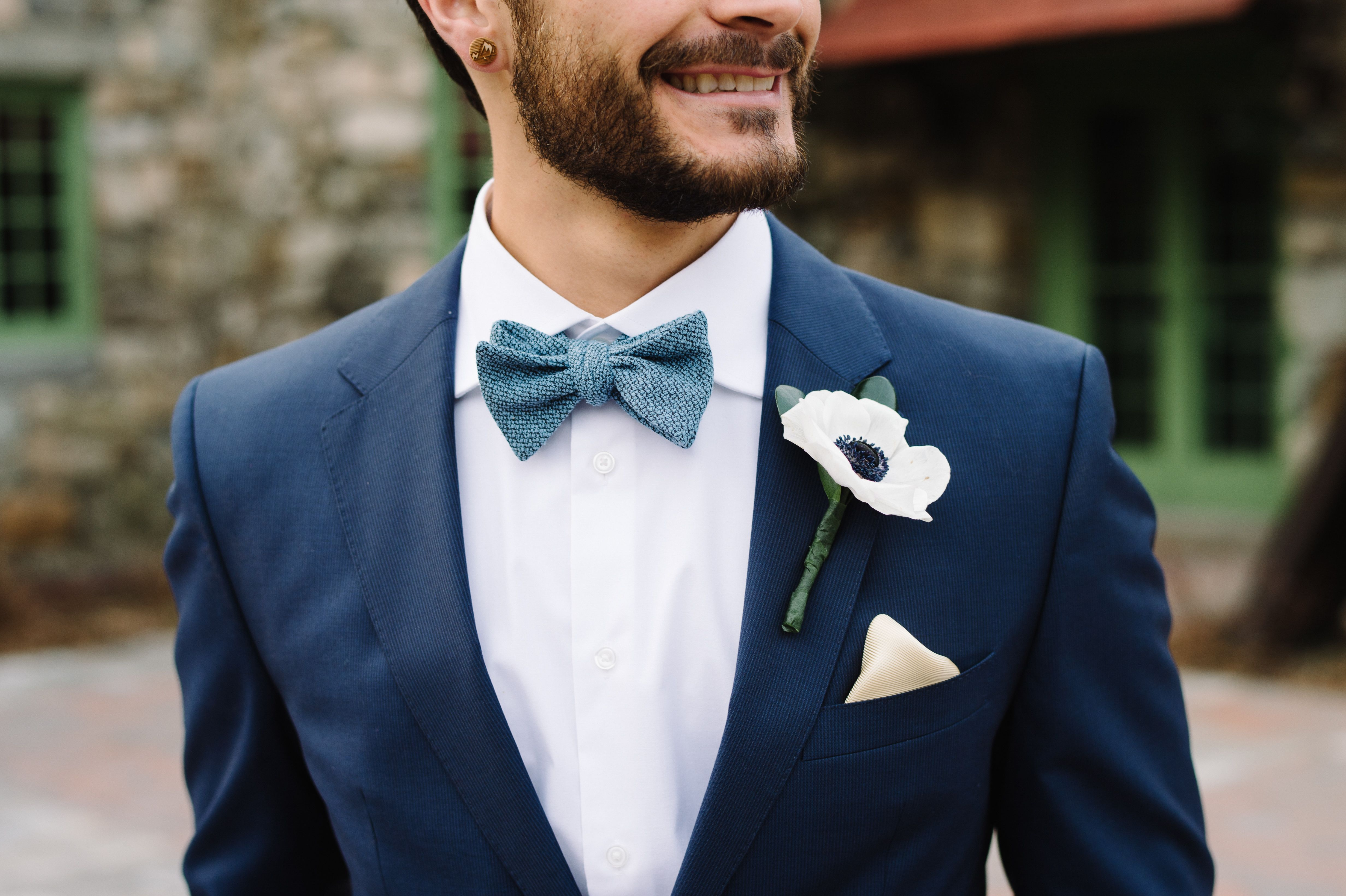 This Groom Has Style Sporting A Navy Suit And Blue Bow Tie For His Wedding Day At Historic Wedding Venue Blue Suit Bow Tie Blue Suit Wedding Navy Suit Wedding