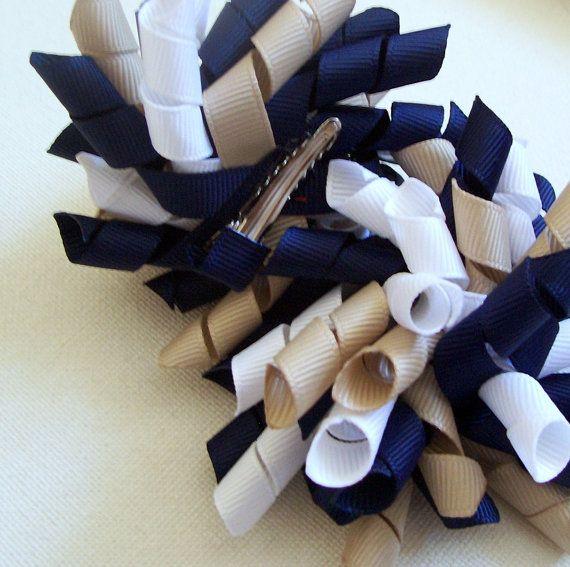Light Blue /& White Pair of Korker Hair Clip School Hair Bow Clips Sets