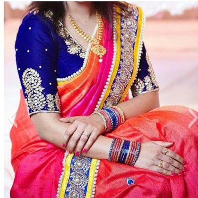 Elbow Length Maggam Work Blouse Designs Saree Blouse