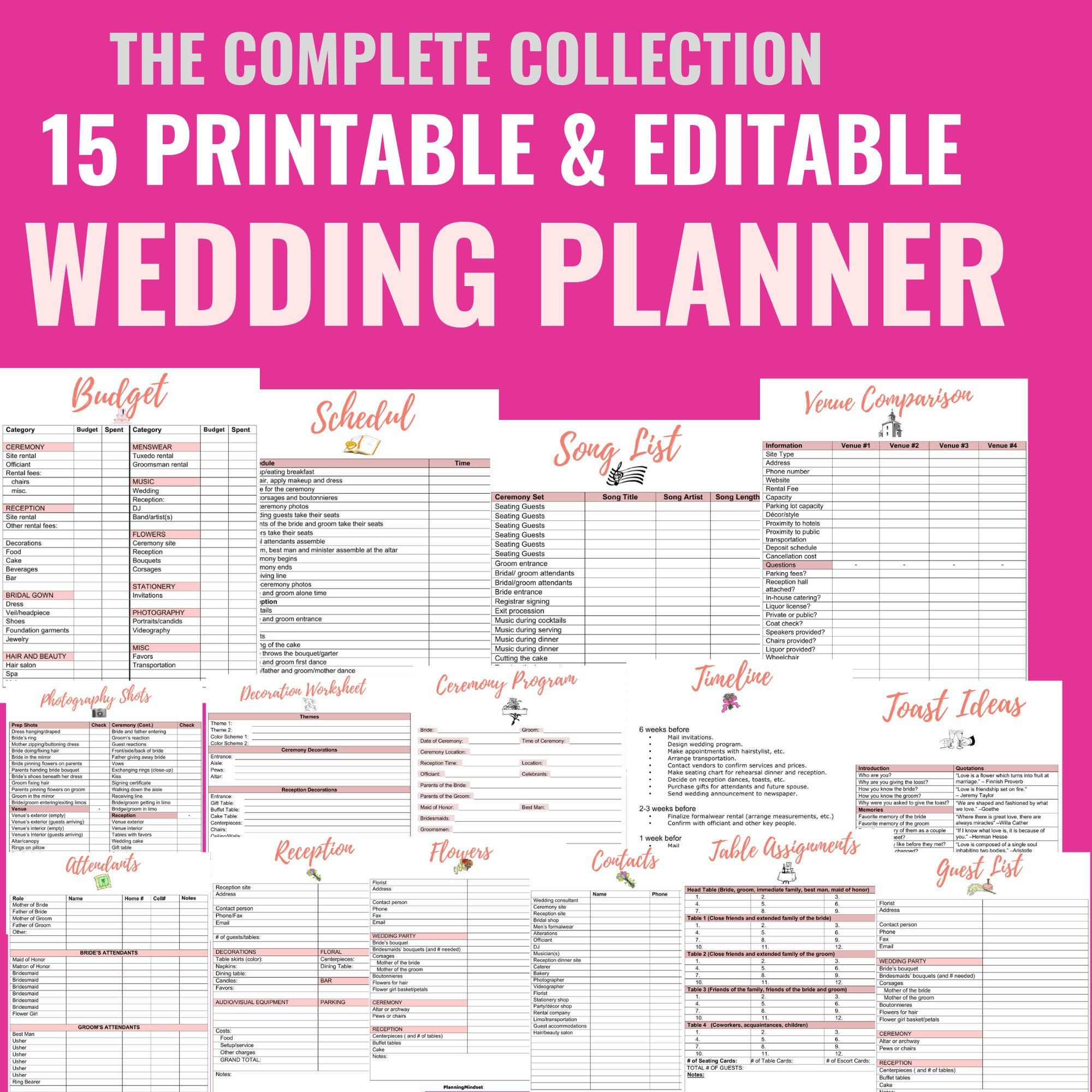 Printable Wedding Planner Collection 15 Printables Editable Wedding Checklists Wedding Planner Printables