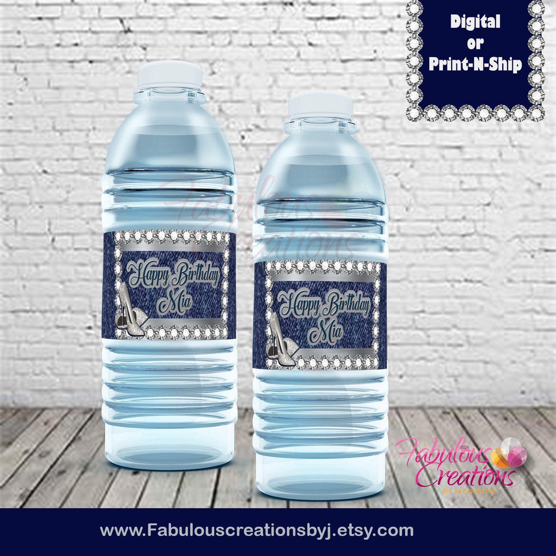 Denim Diamonds Water Bottle Labels Custom Denim And Diamonds