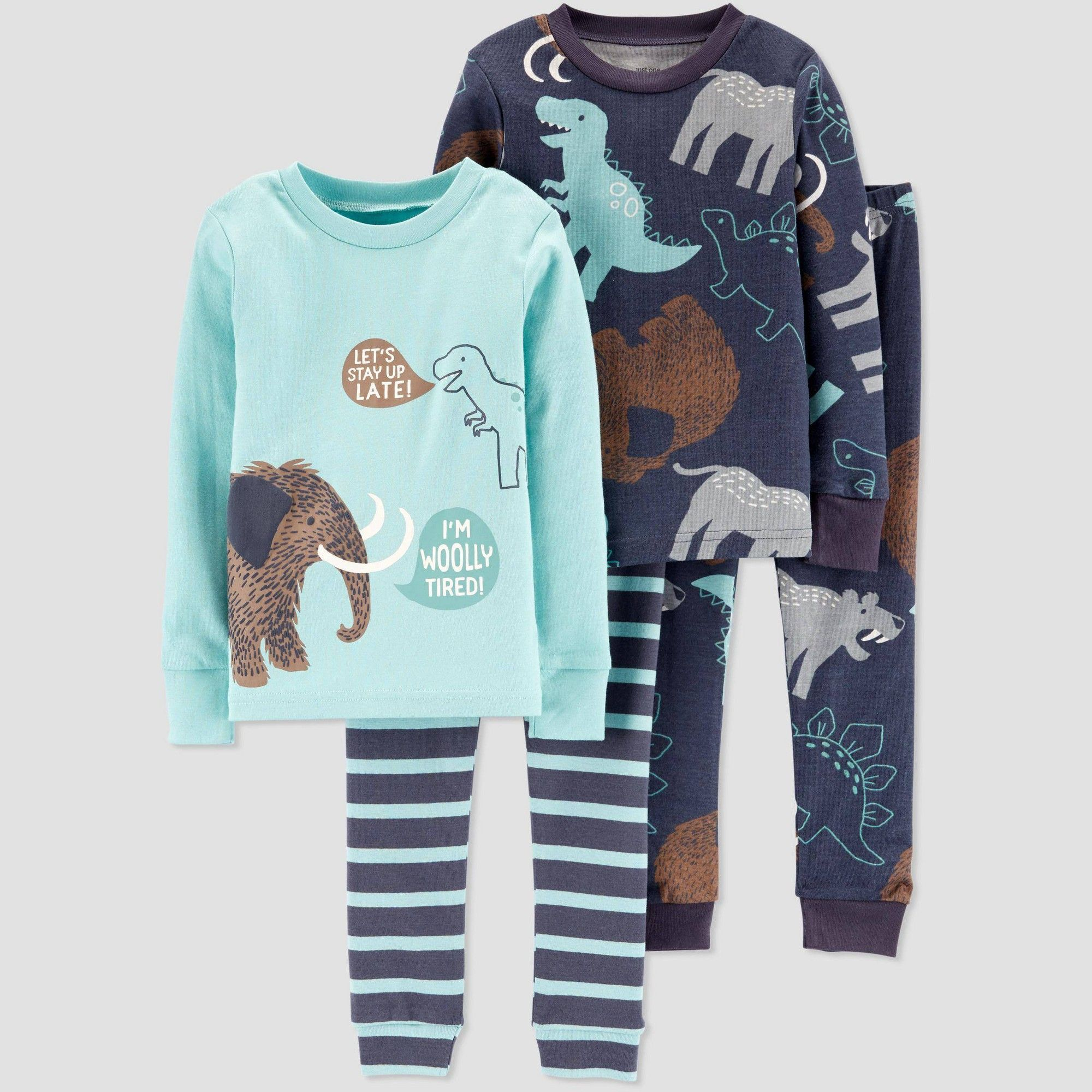 New Carter/'s Boys Woodland Creatures Pajama set Snug Fit Toddler Teal