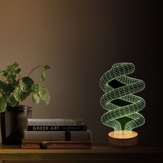 Spiral 3D Illusion LED Table Night Lamp with Remote Control   - halloween desk decorations