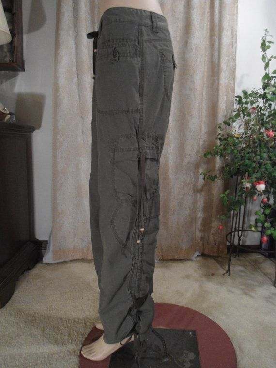Size Med Vintage Green Cargo Pants Womens Gathered Pockets Hippie Steampunk Soft Grunge Boho Army Parachute 9 Green Cargo Pants Cargo Pants Women Type Of Pants