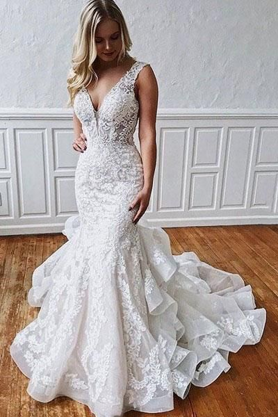 Stunning Mermaid Lace V Neck Backless Wedding Dresses Straps Wedding G