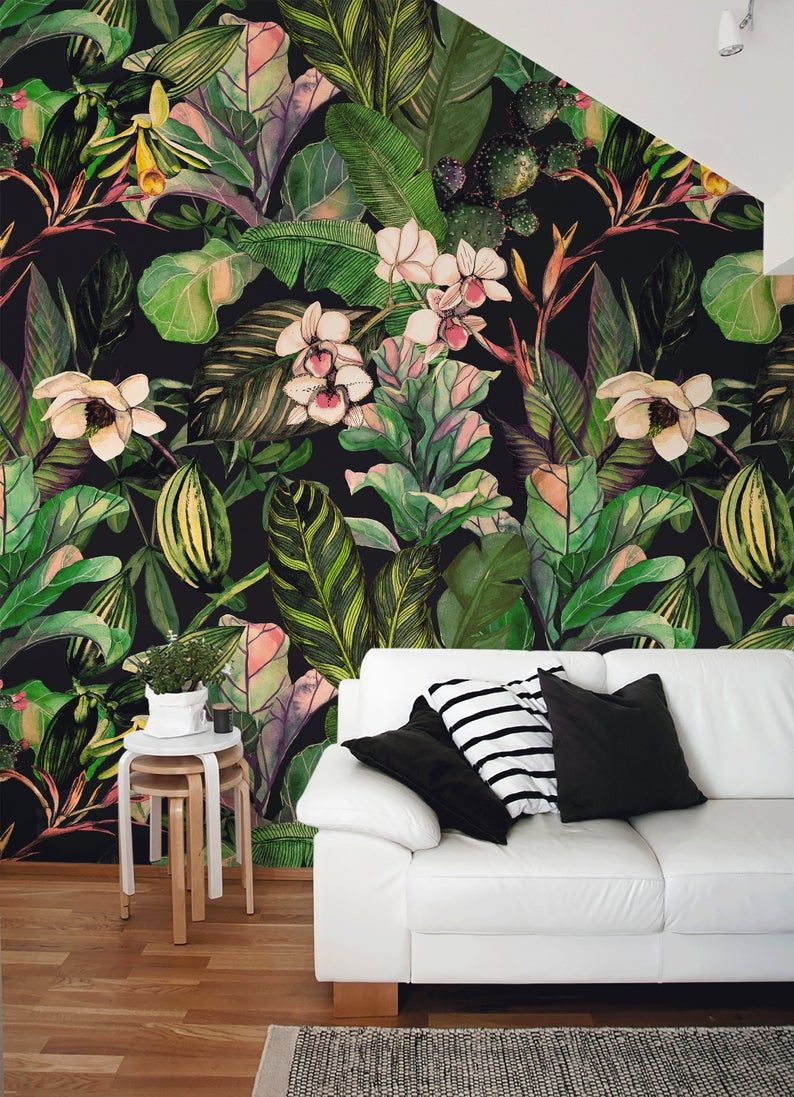 Removable Wallpaper Peel And Stick Wallpaper Wall Paper Wall Etsy Large Floral Wallpaper Tropical Wallpaper Wall Wallpaper