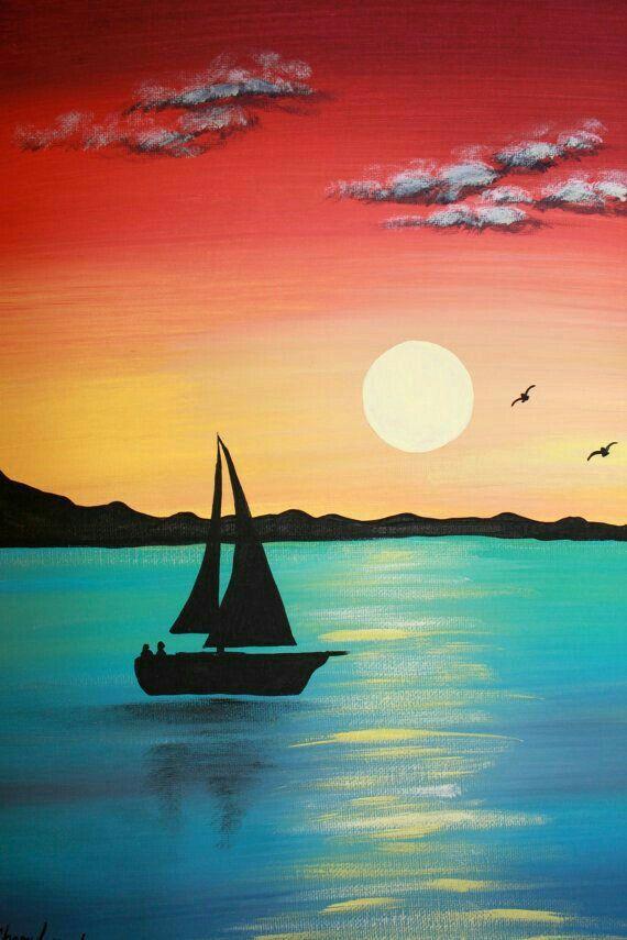 Рисунки лодка на закате
