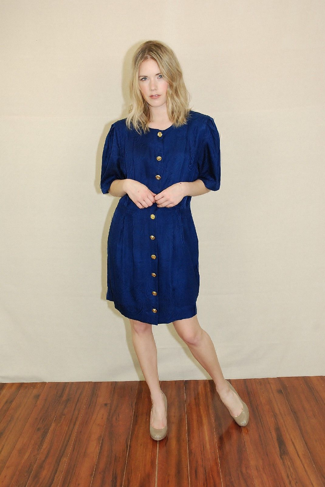 Vtg 70s Navy Silk Paisley Pleated Boho Secretary Party Mini Dress M | eBay