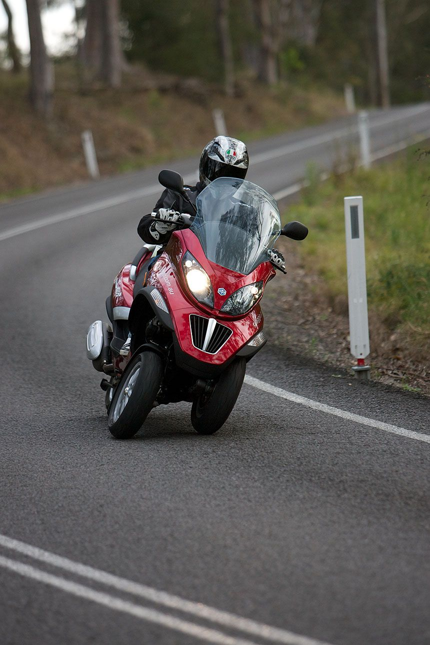 Piaggio mp3 - stable like a trike, leans like a motorcycle!