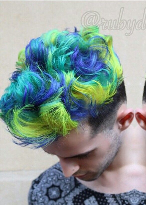 Green Blue Dyed Hair For Men Mens Hair Colour