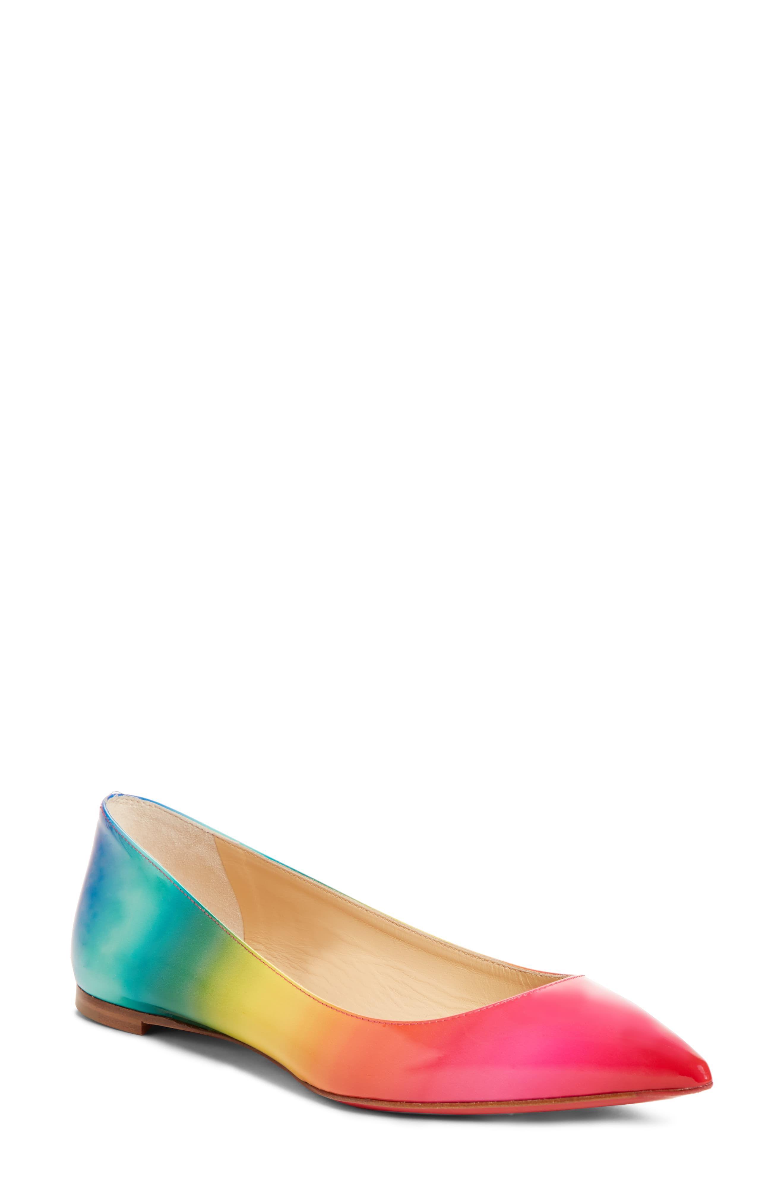 new style 13b2f 97d4f Women's Christian Louboutin Ballalla Rainbow Flat, Size 4US ...