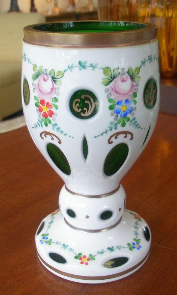 Bohemian Czech White Cut To Emerald Green Glass Goblet Vase Handpainted Flowers Colored Glass
