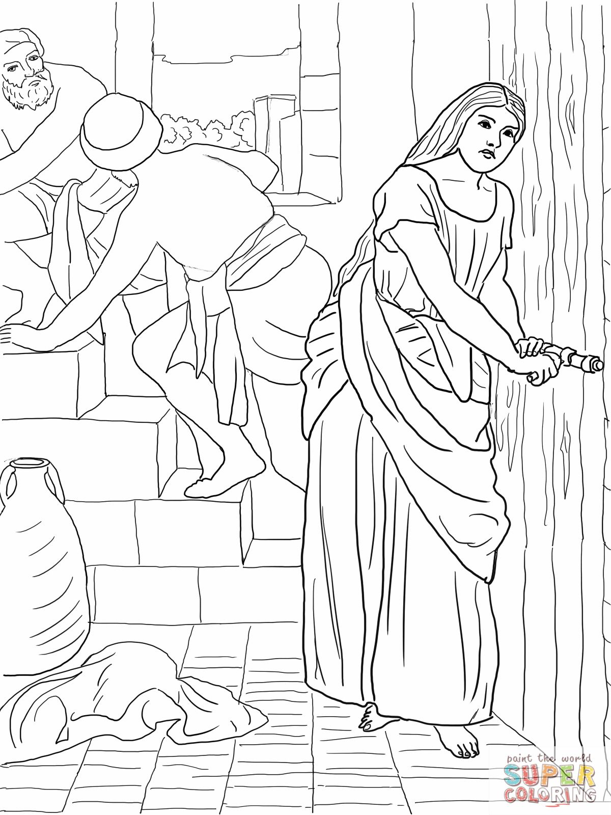 2 Rahab Hides The Spies Coloring Page Jpg 1200 1600 Pixels Bible