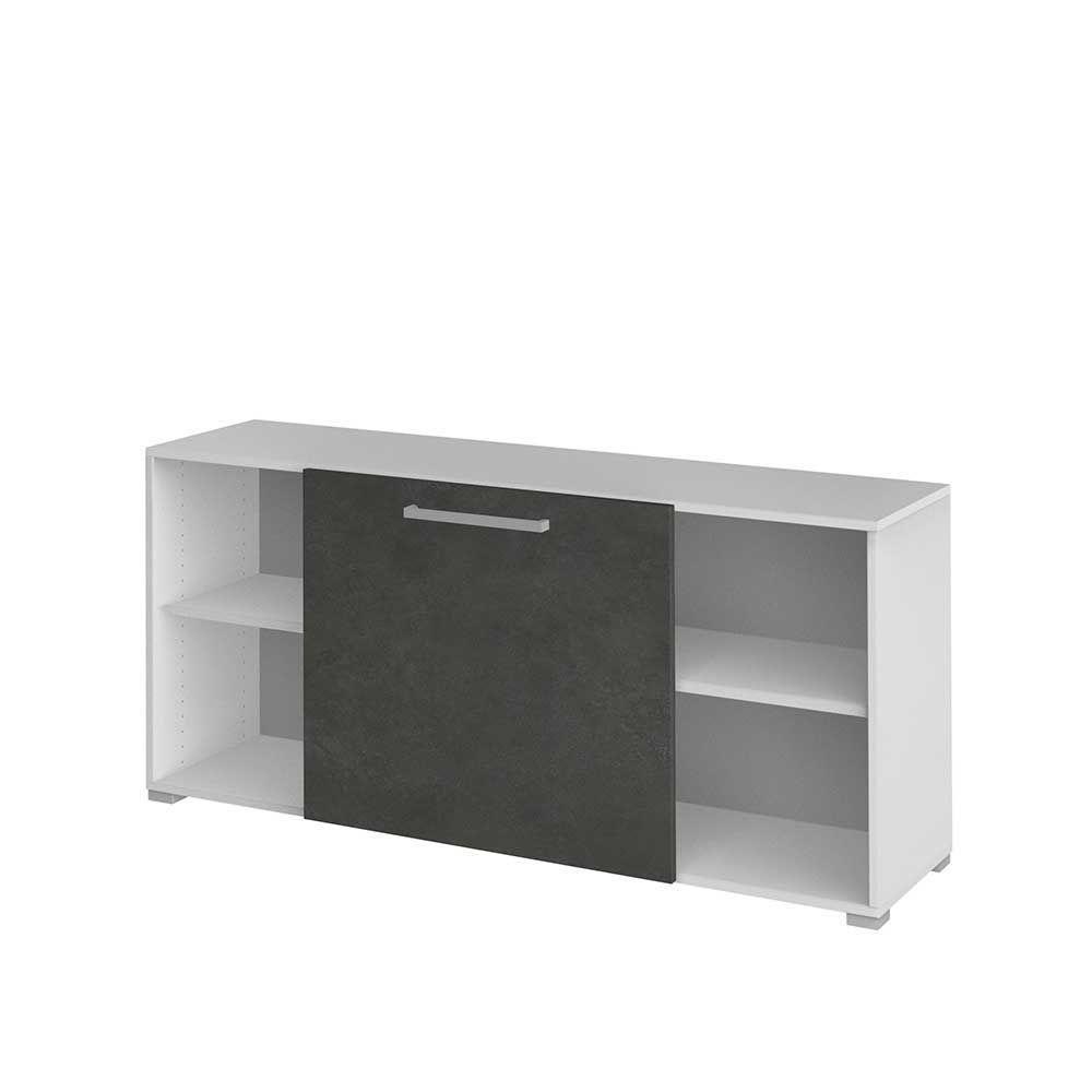 Büro Sideboard mit Schiebetür Weiß Grau sideboard,wohnzimmerschrank ...