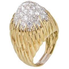 60s - 70s Pave Diamond Gold Dome Ring with Floral Design