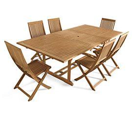 Table de jardin en bois Roscana 180/240 x 110 cm   jardin-terrasse ...