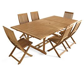 Table de jardin rectangulaire en Teck Roscana, 180/240 x 110 cm ...