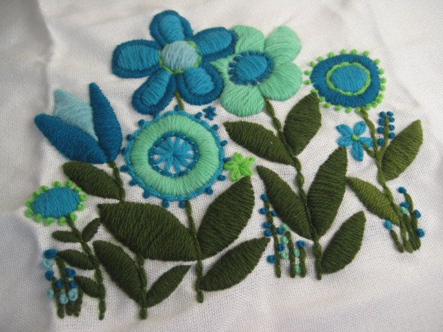 Vintage Embroidered Blue Floral Yarn Fabric Piece
