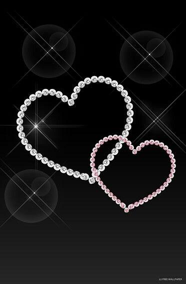 Bling hearts corazones diamantes fondos backgrounds for Schwarze glitzer tapete