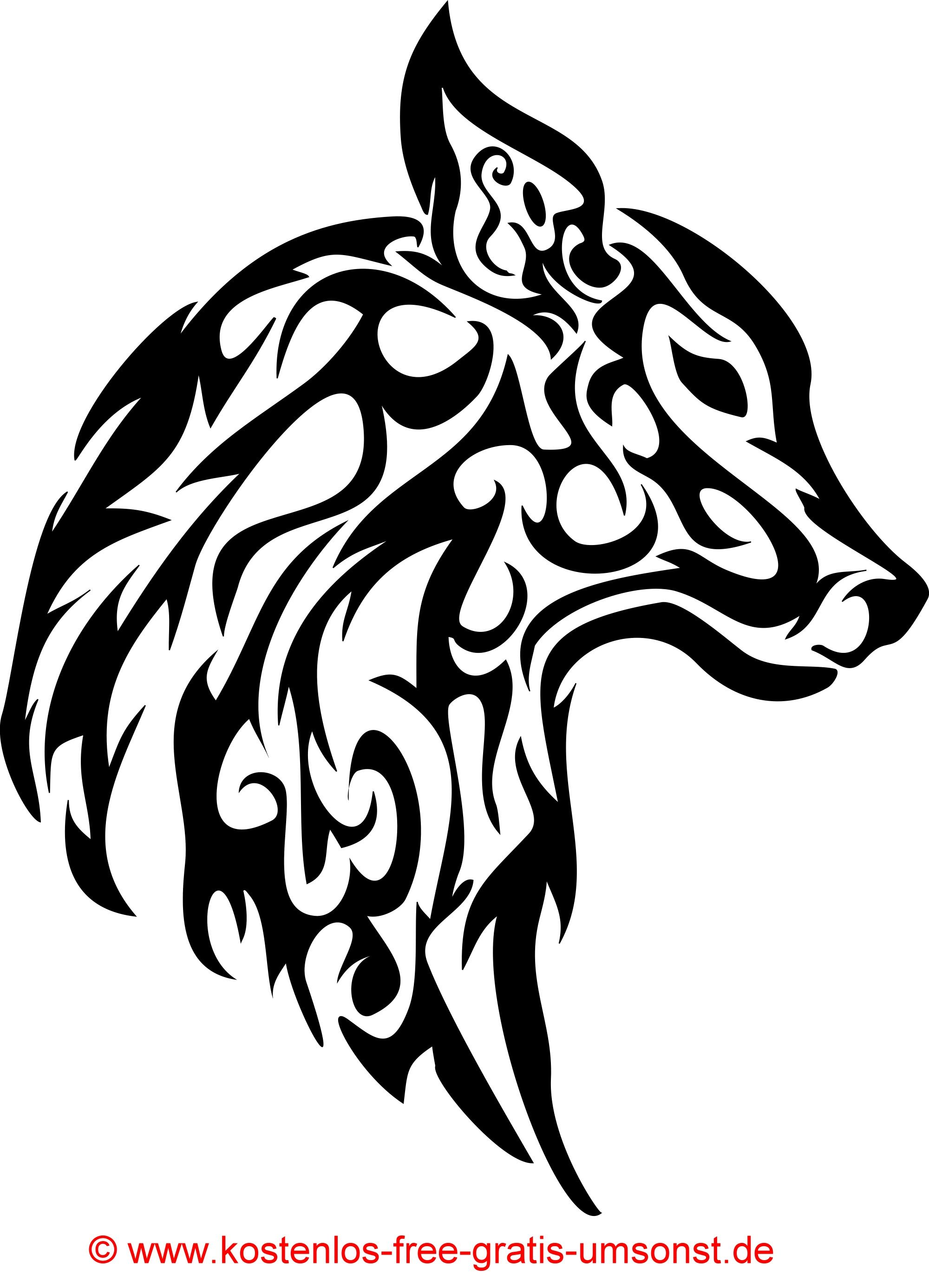 Tiere Tattoobild Hund Wolf Tattoomotive Tribal Art Black