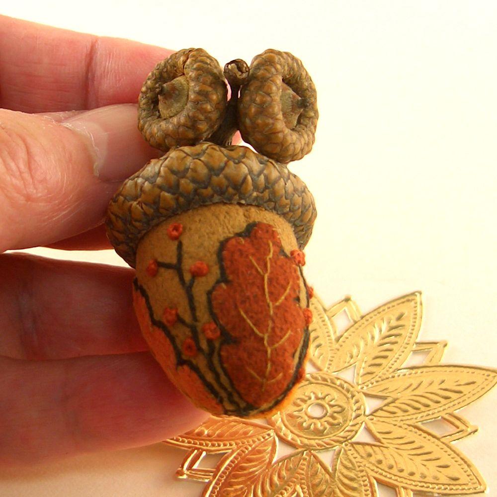 Autumn Oak Leaves ~ Faerie Acorn~ Acorn Emery