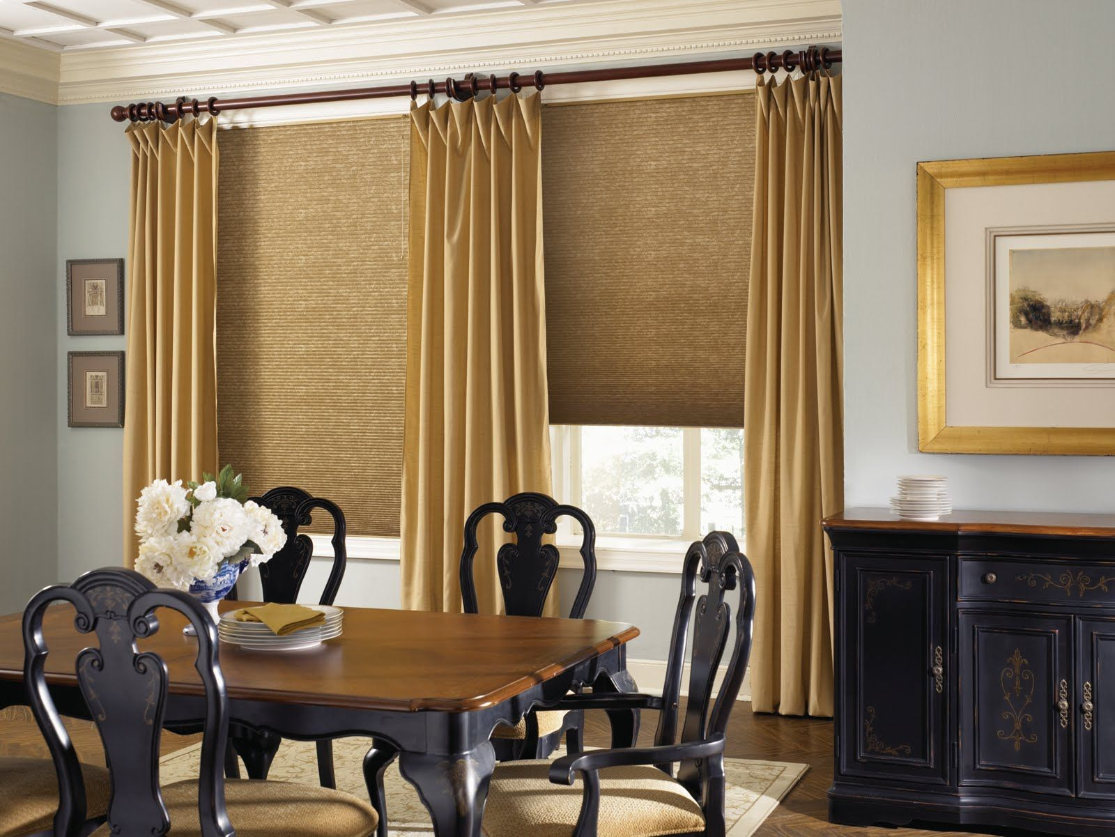 Interior, Honeycomb Window Shades With Gold Accent Curtains Classic Black  Wood Dining Chairs With Large Wood Top Table Big Nature Photography With  Gold Tone ...