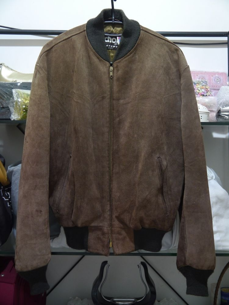 0dc19f1f2 vintage SCHOTT NYC SPORTSWEAR leather SUEDE brown BOMBER jacket size ...