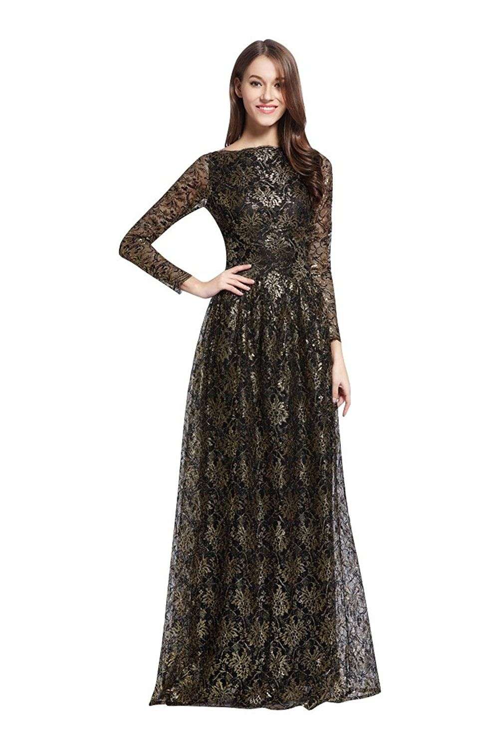 Beautyemily lace boat neck long sleeve evening dresses for more