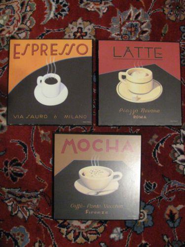 3 Marco Fabiano Latte Espresso Mocha Coffee Theme Wall Art Plaques ...