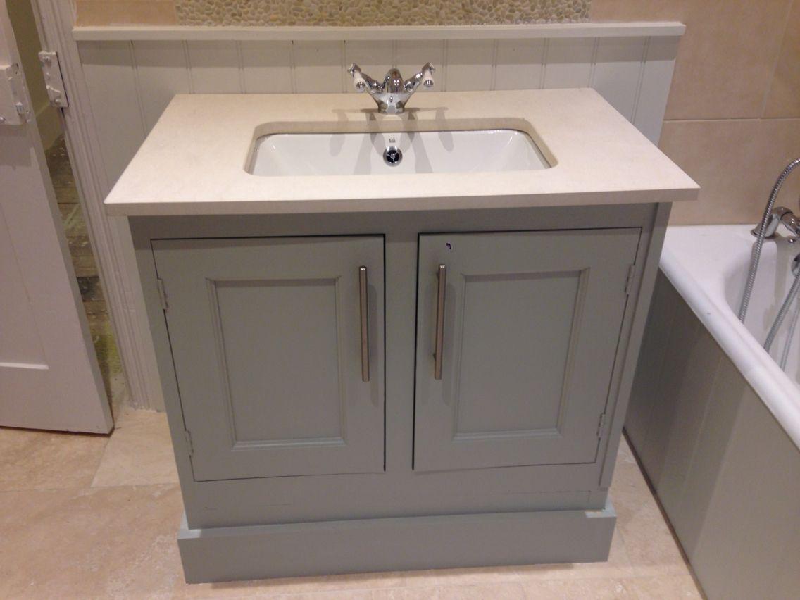 Solid Oak Vanity Unit Painted Farrow And Ball Mizzle Inset Basin With Cream Stone Surround Vanity Units Bathroom Sink Storage Bespoke Bathroom